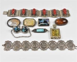 Vintage Brooches, Pins, Bracelets, Sterling