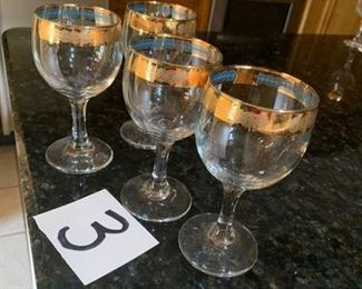 4 small wine glasses trimmed in 24k