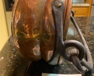"""Antique English, hammered copper and brass cauldron w iron handle. 11 1/2"""" long"""