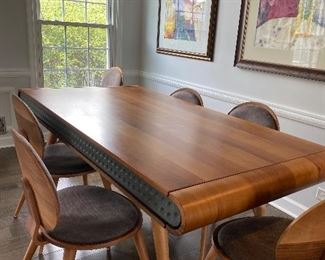 """Zellano Furniture hand made in Turkey this new design has all the looks of Modern 74""""L x 38.5'W with 6 chairs is flawless is drawers on each end for linen/ silverware, serving needs. Table with Chairs $950 OBO"""