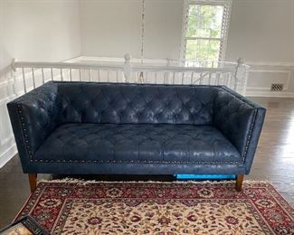 """Cobalt Blue with fleck pattern in fabric Chesterfield style tufted sofa 74""""L 36"""" D. Cushions sewn in Buy it NOW $500 oco"""