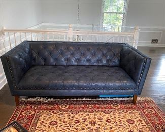"""Cobalt Blue with fleck pattern in fabric Chesterfield style tufted sofa 74""""L 36"""" D. Cushions sewn in Buy it NOW $500"""