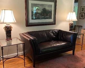 Crate & Barrel Leather Settee, Glass & Metal End Tables, Asian Lamps
