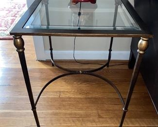 Glass Top Metal End Table (2 Available)