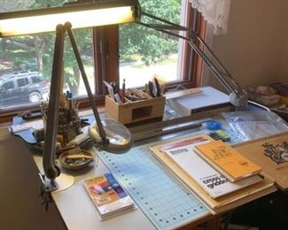 Drafting Desk, Light, and Magnifier