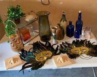 Pottery, Glass, Feathers