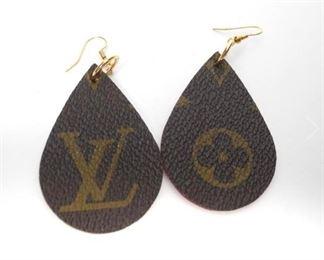Genuine Louis Vuitton Repurposed Leather Earrings