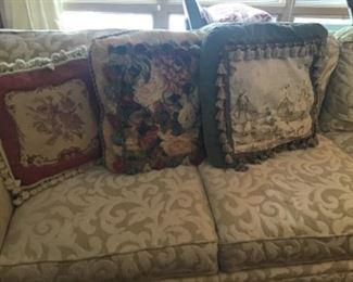 Needlepoint pillows with fringe....make me happy