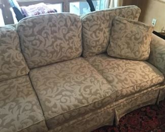Twin sofas! These are facing one another in a large den with a gorgeous stone top Ethan Allen coffee table between them.