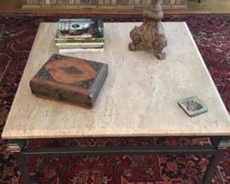 Ethan Allen square stone top and iron base coffee table