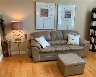 Farmington Hills Condo - Italian Leather Sofa, End Table, Signed Art.