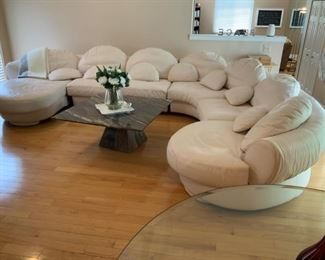 """Gigantic Italian Leather Down Filled Sectional (Made in Italy) Measures Approx: 12 feet wide x 120"""" Deep. $5,000"""
