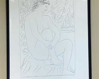 "Pablo Picasso Original Etching ""Femme neu assise devant un Rideau, 1931. (Nude Woman in front of a curtain) -- $8,000"