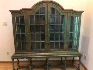 Antique green cabinet with key. Chinese characters