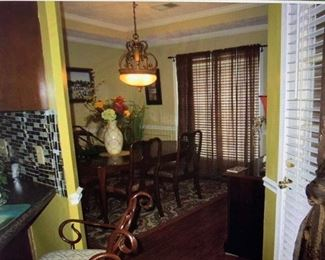 dining room set with hutch, pictures