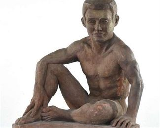 Clay Sculpture J. Richter Sitting Nude Male Figure