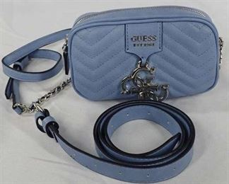 Guess Blue Leather Purse & Matching Belt