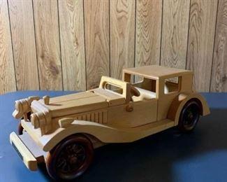 Wooden Bugatti Model Toy Car