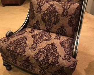 $895 (each)Black with Gilt gold Accents French Style Chairs - Custom Upholstery ( set of 4) Emerson Bentley Furniture