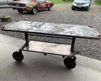 Vintage Medical Stainless Steel Gurney rolling Table, Kitchen Island, Work Station