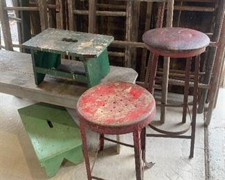 Old wood foot stools, Industrial stools, old ladders and benches