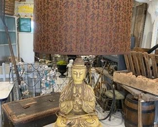 Single large Vintage Mid Century crackleware seated Buddha lamp with matching finial and replaced shade, in working order, structurally sound, in the manner of Billy Haines.