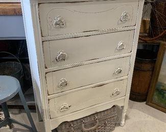 Vintage 1920's 4 drawer dresser, storage cabinet, embossed metal pulls