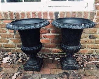 Antique Cast iron garden urn on stand with Lion head handles