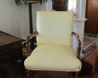 Vintage side chair, new upholstery, plant stand.