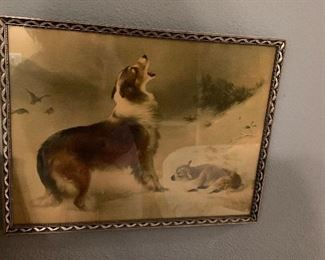 Antique picture dog protecting lamb