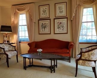 Custom upholstered, 3 matching barrel chairs, velvet camel back cushions  brass tray coffee table , botanical prints