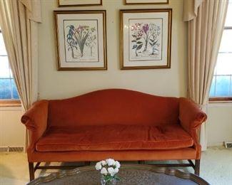 custom upholstered,  down cushion,  velvet camel back sofa,  brass tray coffee table , botanical prints