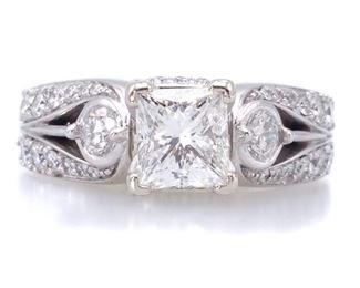High-Grade 2+ Carat Diamond Estate Ring in 14k White Gold