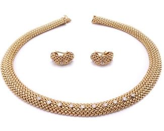 Gorgeous High-End Diamond and 14k Yellow Gold Designer Necklace and Earring Set