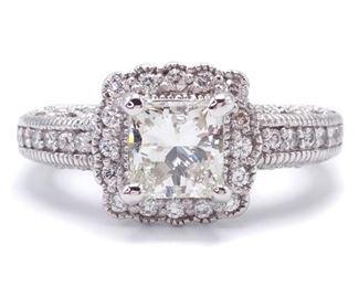 Elegant 1 Carat Diamond Halo Estate Ring in 14k White Gold