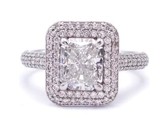 2.84 Carat Radiant Cut Diamond Double Halo Ring in 14k White Gold