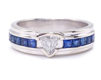 Gents .40 Carat Trillion Cut Diamond and 1.09 Carats Fine Blue Sapphire Estate Ring in 14k Gold