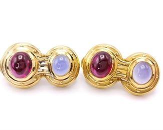 Simon G Designer Tourmaline Estate Earrings in Heavy 18k Gold