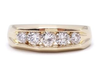 High Grade 1 Carat Men's Diamond Ring in Heavy 14k Yellow Gold