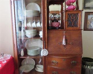 Antique Drop Front Oak Secretary - All Original