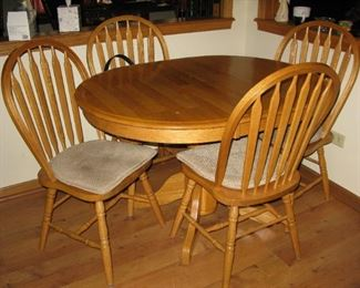 oak kitchen table, leaf and 4 chairs.                                                         BUY IT NOW  $ 185.00
