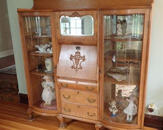 DOUBLE BOWED GLASS SECRETARY - WITH DROP FRONT SECRETARY WITH CUBBIES - AND DRAWER STORAGE