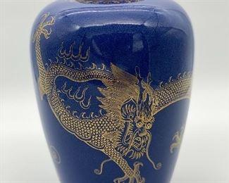 Wedgewood Blue Fairyland Lustre Dragon Vase