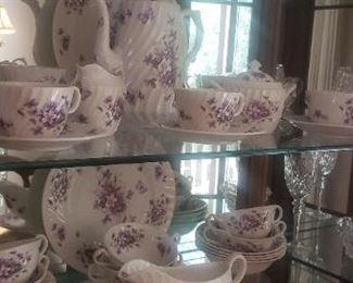 Aynsley Bone China, Wild Violet pattern, Service for 8 w/additional Serving Pieces
