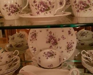 Aynsley Bone China, Wild Violets pattern, Serving Pieces