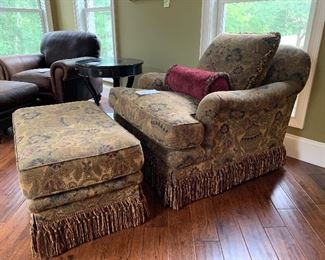 """2. Chair & Ottoman with fringe $550                                          37 x 42"""" x 33"""" tall"""