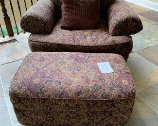 """5. Wide Chair & Ottoman Upholstered $295.  50"""" x 40"""" x 30"""" tall"""