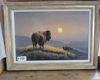 """""""Bison Oil Painting"""" Kenny McKenna - Bison 37x27 Oil Painting."""