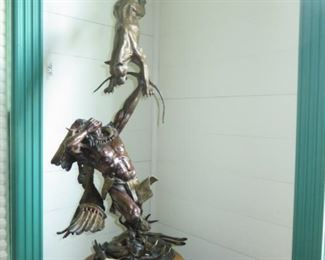 """""""Hunter becomes the Hunted"""" by Vic Payne. Bronze Statue 38x16 -including the base."""