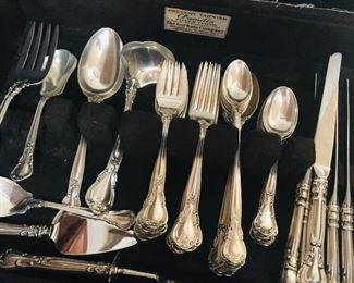"Place settings for 8 of  old mark Gorham sterling  flatware ""Chantilly"""